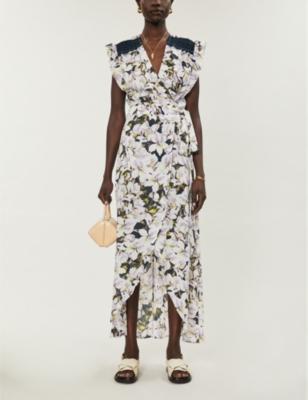 Floral-print ruffle-trimmed crepe wrap maxi dress