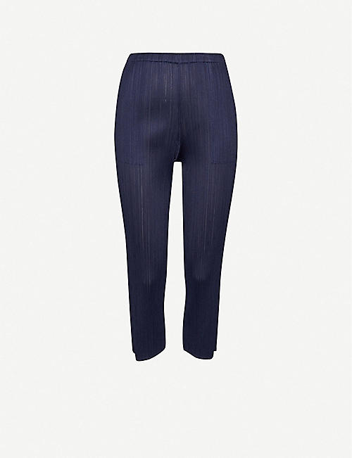 PLEATS PLEASE ISSEY MIYAKE Basic pleated tapered high-rise stretch-woven trousers