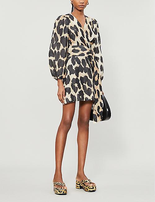 GANNI Leopard-print linen and silk mini dress