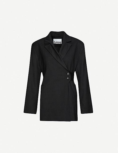 GANNI Single-breasted loose-fit wool blazer