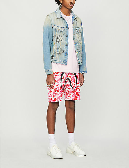 A BATHING APE Camouflage shark cotton-jersey tracksuit shorts