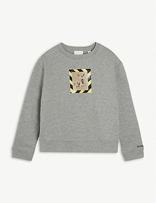 BURBERRY Deer-motif cotton-jersey sweatshirt 3-14 years