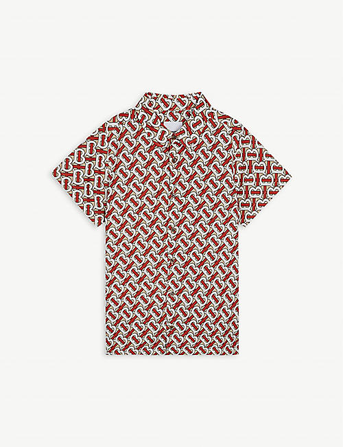 BURBERRY Desmond monogram-print cotton-poplin shirt 3-14 years