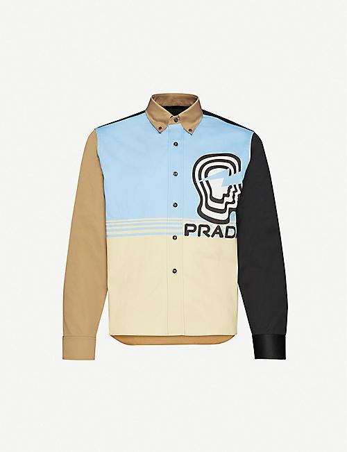 PRADA Graphic-print slim-fit cotton shirt