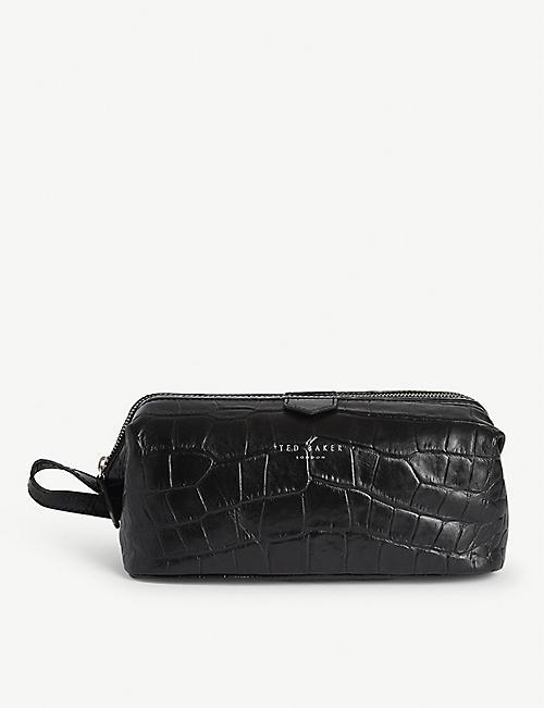 TED BAKER Crawl croc-embossed leather wash bag