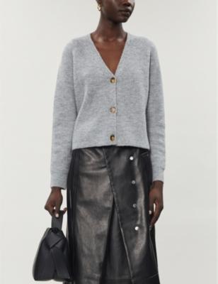 Boxy-fit V-neck wool-blend cardigan