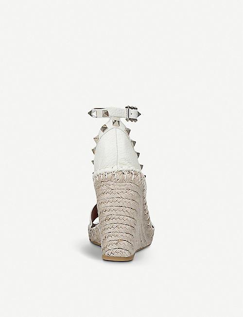 VALENTINO Rockstud leather wedge espadrilles