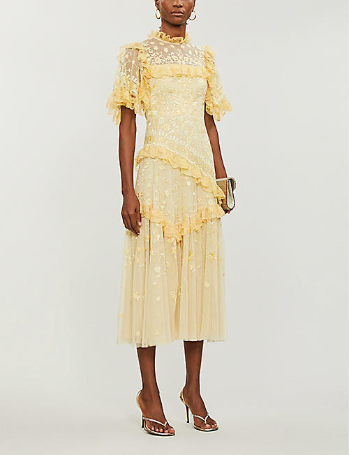 NEEDLE AND THREAD Earth Garden floral-embroidered recycled tulle midi dress