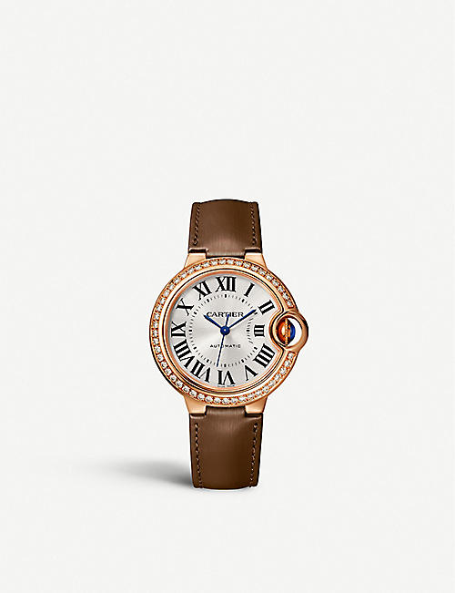 CARTIER CRWJBB0055 Ballon Bleu 18ct rose-gold, diamond and leather watch
