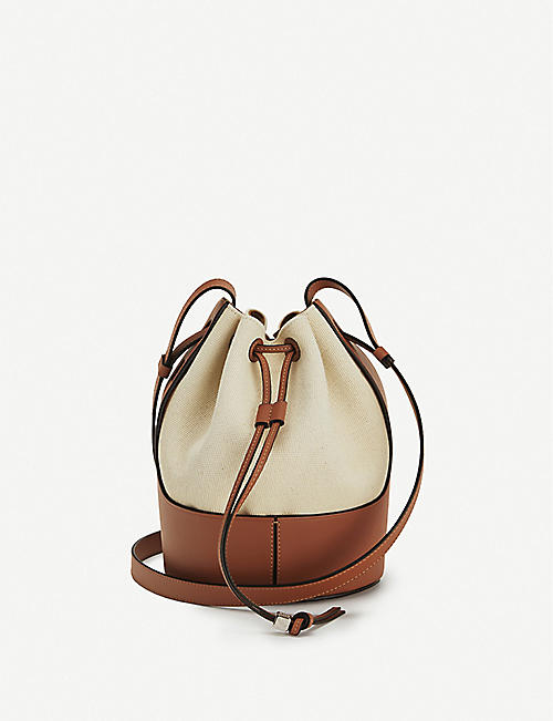 LOEWE Balloon small leather and canvas shoulder bag