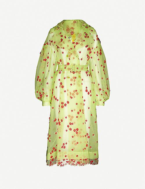 MONCLER GENIUS Moncler Genius x Simone Rocha Coronilla floral-embroidered woven trench coat