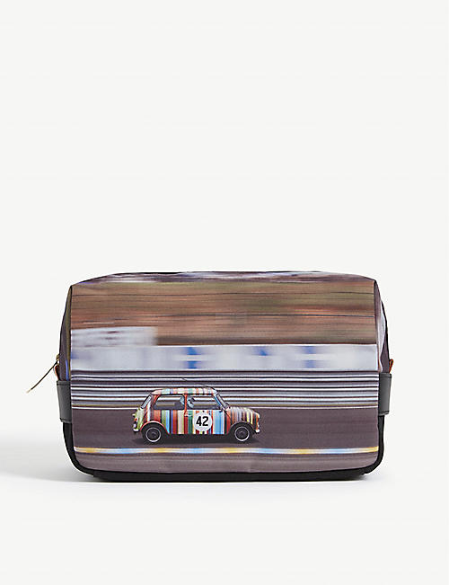 PAUL SMITH ACCESSORIES Racing Mini-print canvas wash bag