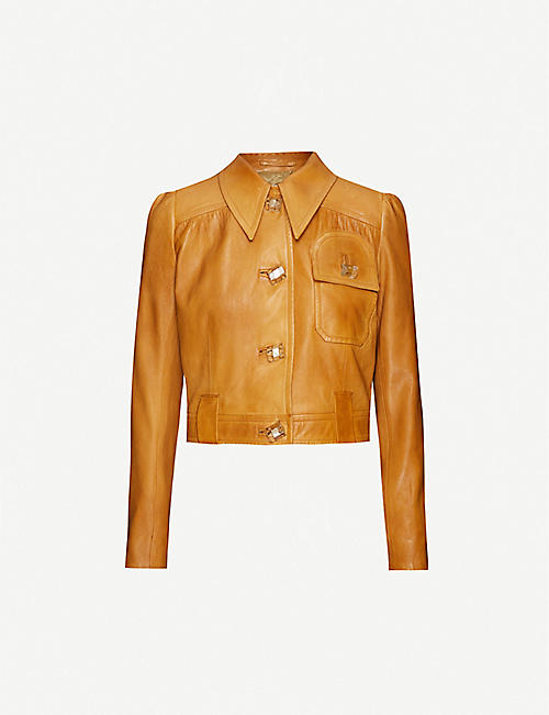 PRADA Puff-shoulder leather jacket