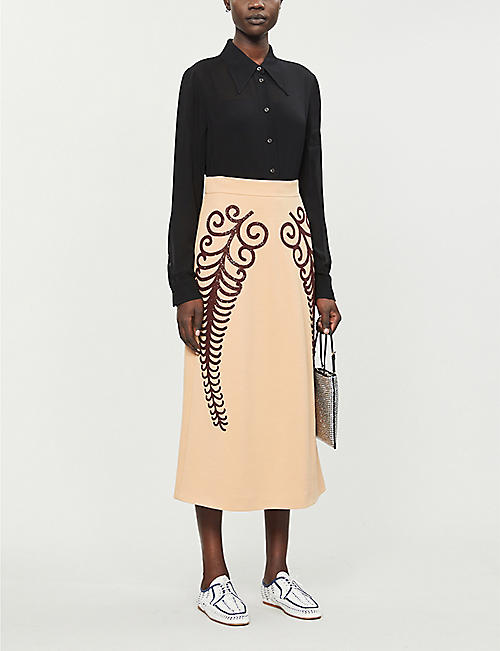 PRADA Bead-embellished high-waist wool midi skirt