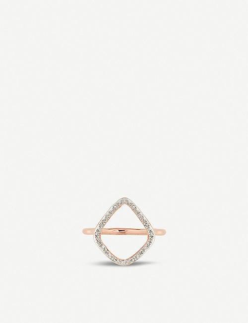 MONICA VINADER Riva Hoop Cocktail 18ct rose gold vermeil on sterling silver diamond ring