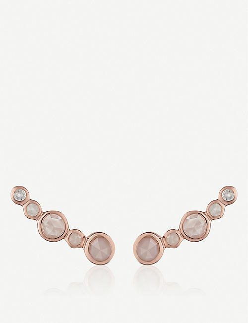 MONICA VINADER Siren Tonal 18ct rose gold-plated sterling silver and rock crystal, moonstone, rose quartz and pink opal climber earrings