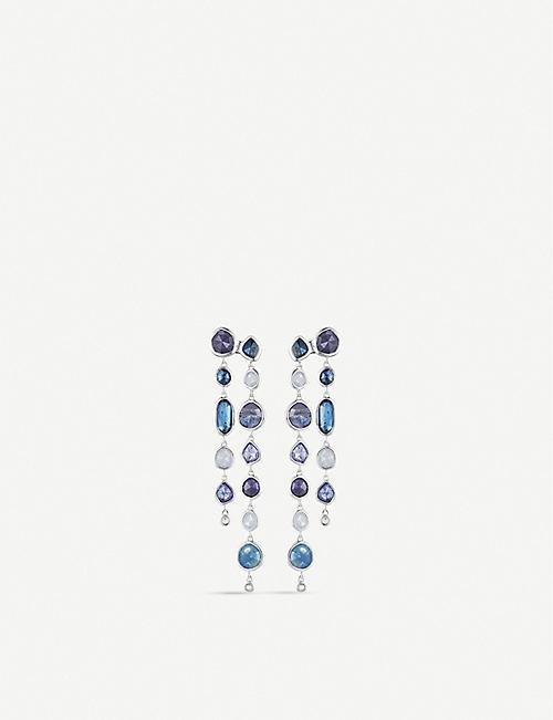 MONICA VINADER Siren sterling silver, rock crystal, kyanite, blue lace agate and tanzanite gemstone cocktail earrings