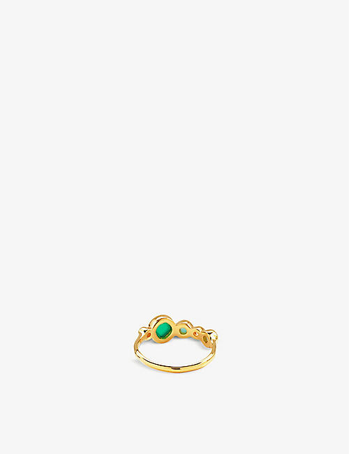 MONICA VINADER Siren Tonal 18ct gold-plated sterling silver, rock crystal, chrysoprase, green onyx and amazonite ring