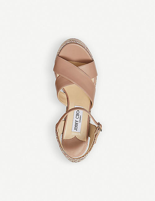 JIMMY CHOO Dellena 100 leather wedge sandals