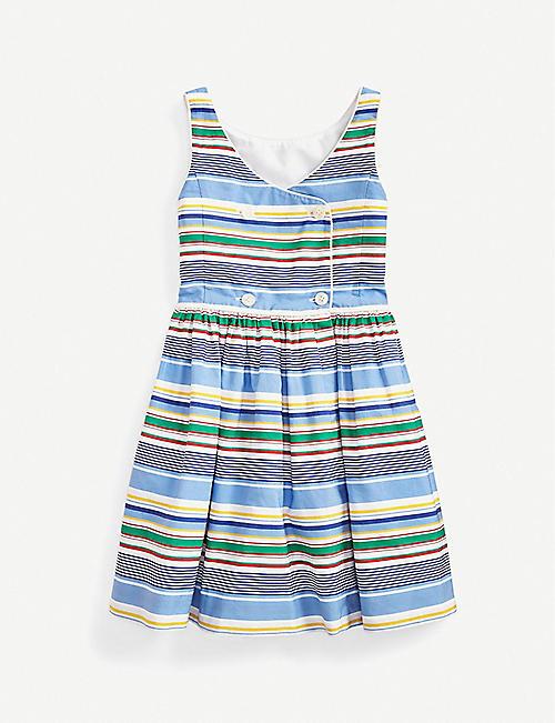 RALPH LAUREN Striped cotton-poplin midi dress 2-14 years