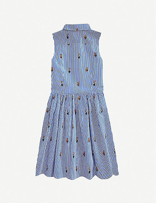 RALPH LAUREN Polo Bear-embroidered striped cotton mini dress 2-14 years