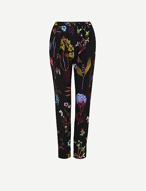 STELLA MCCARTNEY Christine floral-print tapered mid-rise silk trousers