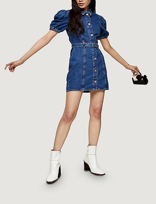 TOPSHOP Puffed sleeve denim mini dress