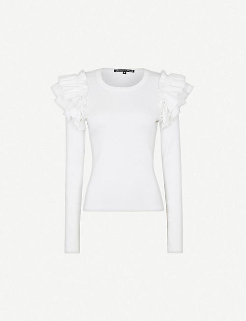 VERONICA BEARD Segrist ruffle-trim stretch-cotton top