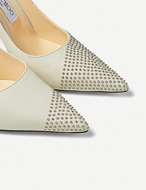 JIMMY CHOO Love 100 embellished leather courts