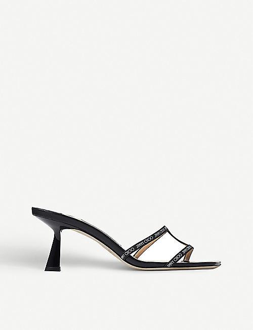 JIMMY CHOO Ria 65 backless leather heeled mules