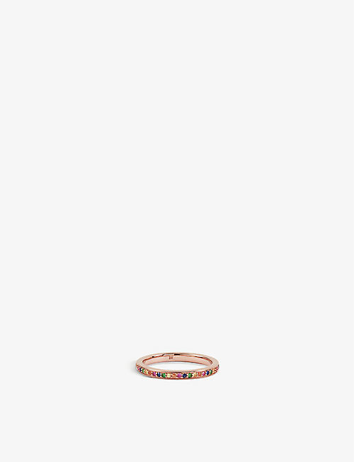 MONICA VINADER Skinny 18ct rose-gold plated vermeil silver and gemstone eternity ring