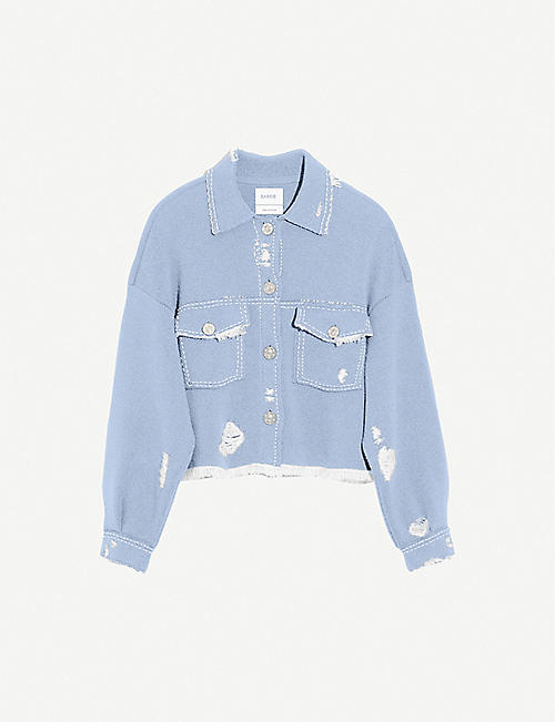 BARRIE Cropped distressed cashmere and cotton-blend jacket