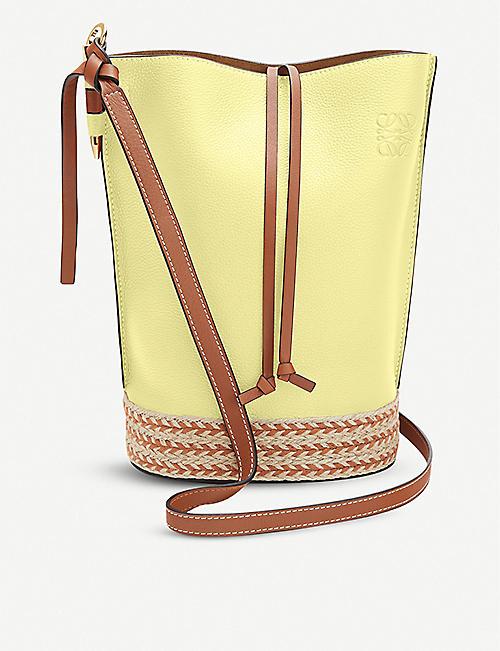 LOEWE Loewe x Paula's Gate raffia and leather bucket bag