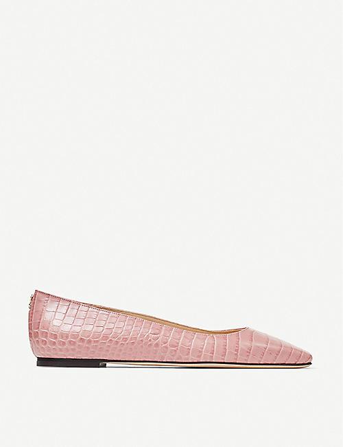 JIMMY CHOO Mirele croc-embossed leather ballet flats