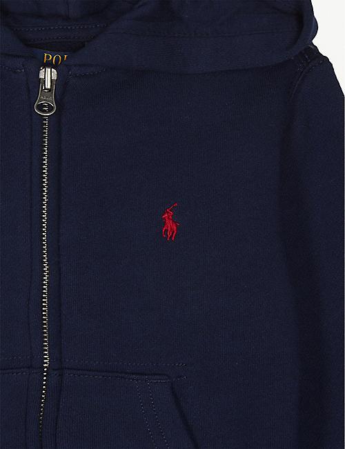RALPH LAUREN Logo-embroidered zip-up cotton-blend hoody 7 years