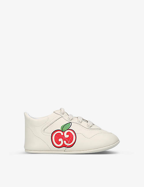 GUCCI: Rhyton logo-print leather high-top trainers 1-3 years
