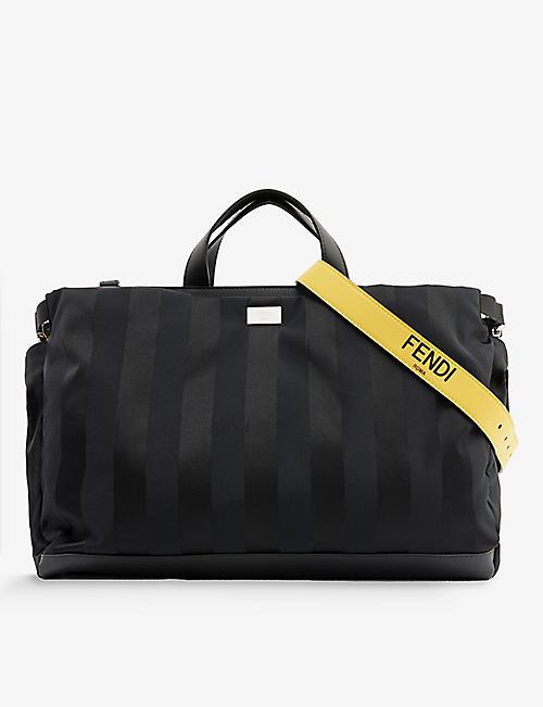 FENDI: Brand-plaque striped leather tote bag