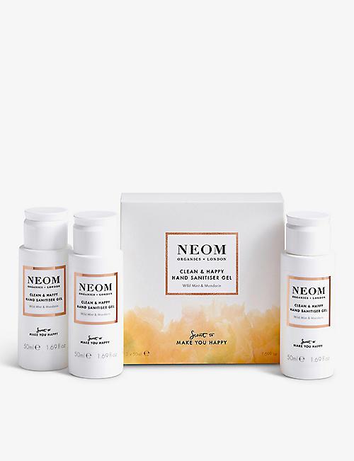 NEOM: Clean & Happy hand sanitiser gel pack of 3