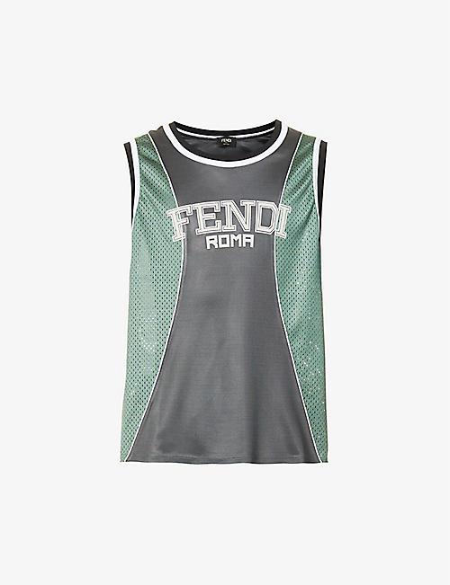 FENDI: Logo-print oversized mesh top