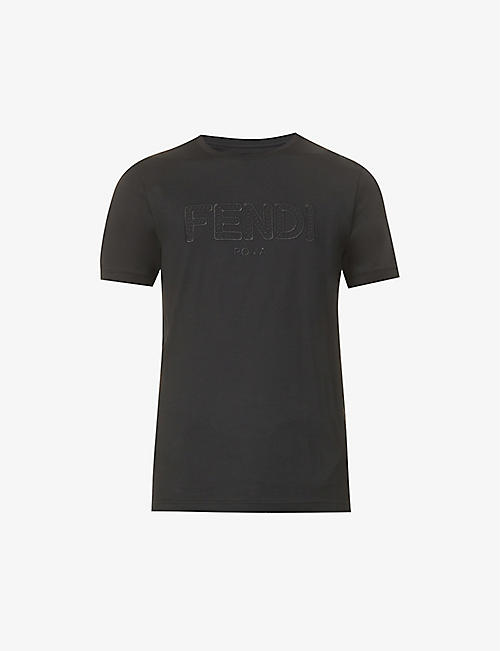 FENDI: Brand-embroidered slim-fit cotton-jersey T-shirt
