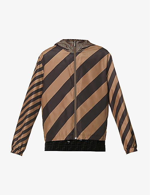FENDI: Chevron-pattern shell hooded jacket