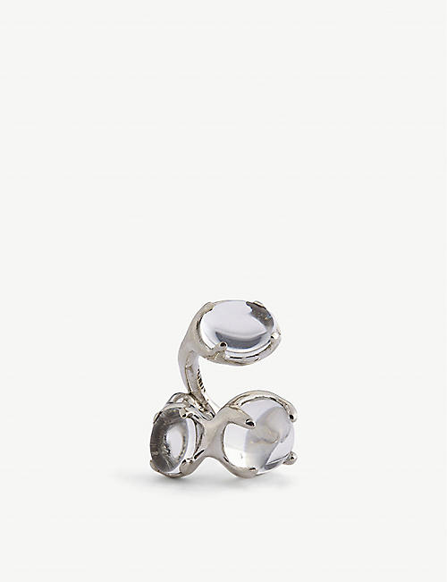 ALAN CROCETTI: Droplet rhodium-plated vermeil sterling-silver and crystal ear cuff