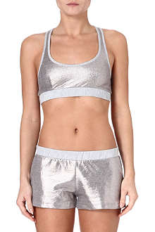 PRINCESSE TAM TAM Argent sports bra and shorts