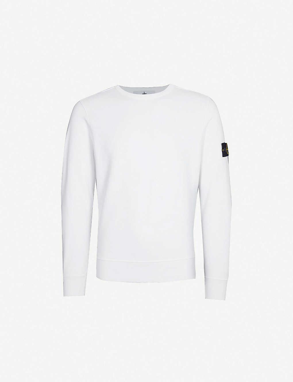 5553f55680 STONE ISLAND - Badge sleeve cotton-jersey sweatshirt