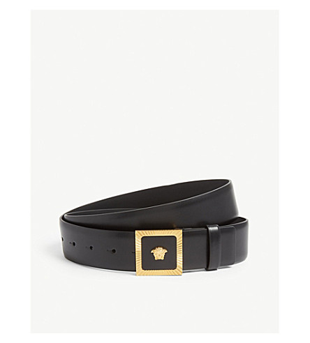 09676ff6ce ... VERSACE Medusa buckle leather belt (Gold+black. PreviousNext