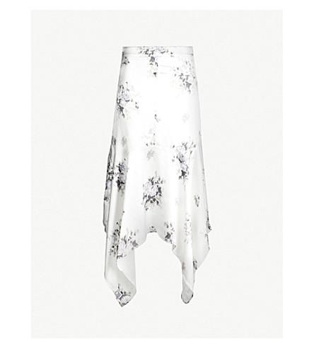 Cameron Handkerchief Hem Floral Print Satin Skirt by Ganni