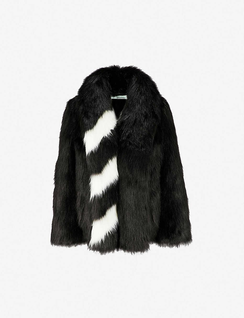 b23519d488557 OFF-WHITE C O VIRGIL ABLOH - Striped faux-fur coat