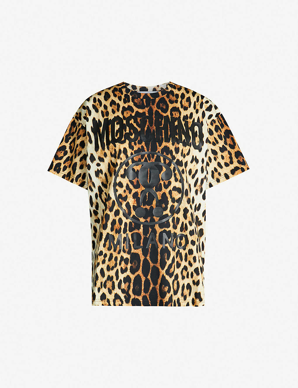9479212776c3e5 MOSCHINO - Logo-print leopard-print cotton-jersey T-shirt ...