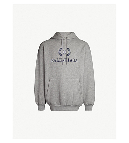 2b7d605289857 ... BALENCIAGA Logo-print cotton-jersey hoody (Heather+grey. PreviousNext