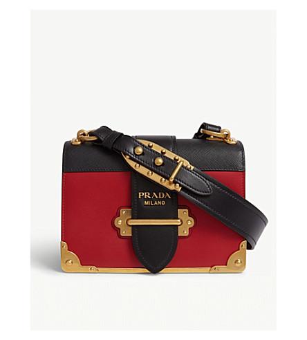 6fb229a073a2 ... PRADA Cahier leather shoulder bag (Red black. PreviousNext